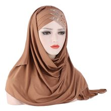 2020 New Sequins Glitter Forehead Cross Muslim Hijab Scarf Ready to Wear Turban Hijabs Islamic Women Headscarf Female Head Wraps