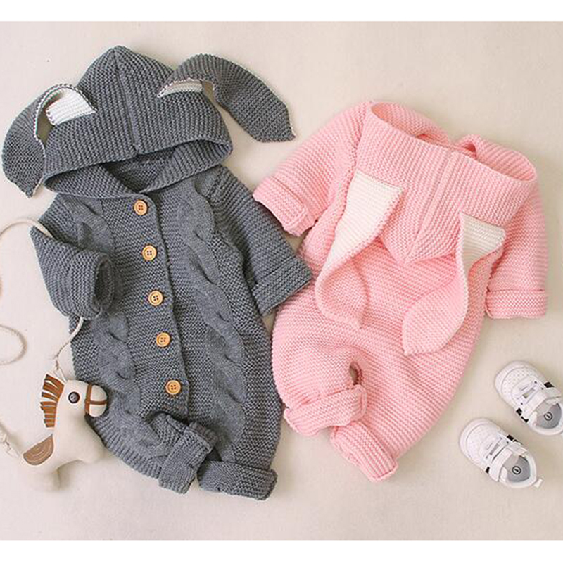 2020 New Spring Baby Boys Girls Knitted Rompers Long Sleeve Toddler Boys Girls Jumpsuits Newborn Children Overalls Clothing