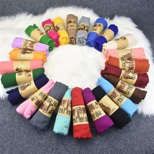 Image 3 - Écharpe à bulle en coton pour femmes, grande taille, châle froissé, bandeau musulman, Hijabs, couleur bonbon, écharpe automne et hiver