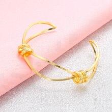 Cross Open Bangle cuff elegant hollow Bracelets For Women Golden Jewelry Noeud Armband Pulseiras