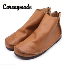 Careaymade-Spring and Autumn Retro Series Literary Art  Genuine Leather ankle boots,One-Shoe Comfortable Soft Shoes