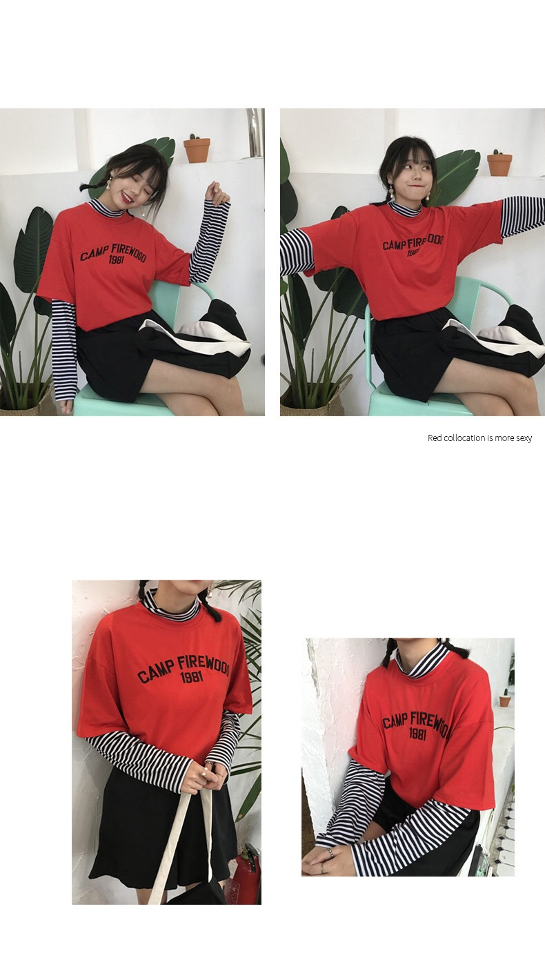Patchwork tshirt Aesthetic Streetwear Korean Clothes Women Striped Printed Letter Roupas Feminina Long Sleeve Fall Shirts 2019