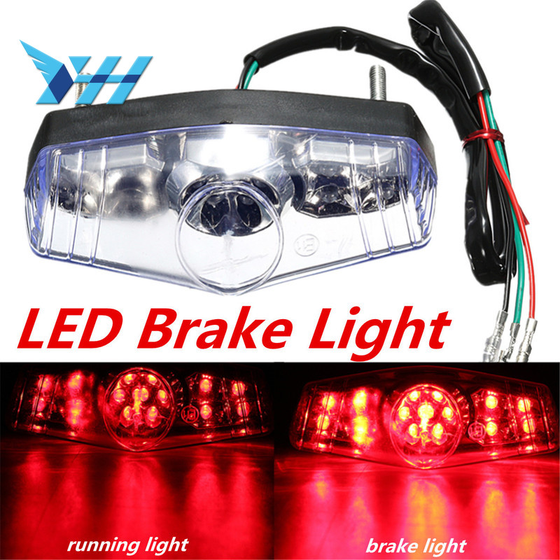 15 LED Motorcycle Accessories ATV Dirt Bike Brake Stop Running Tail Light Universal Clear|  - title=