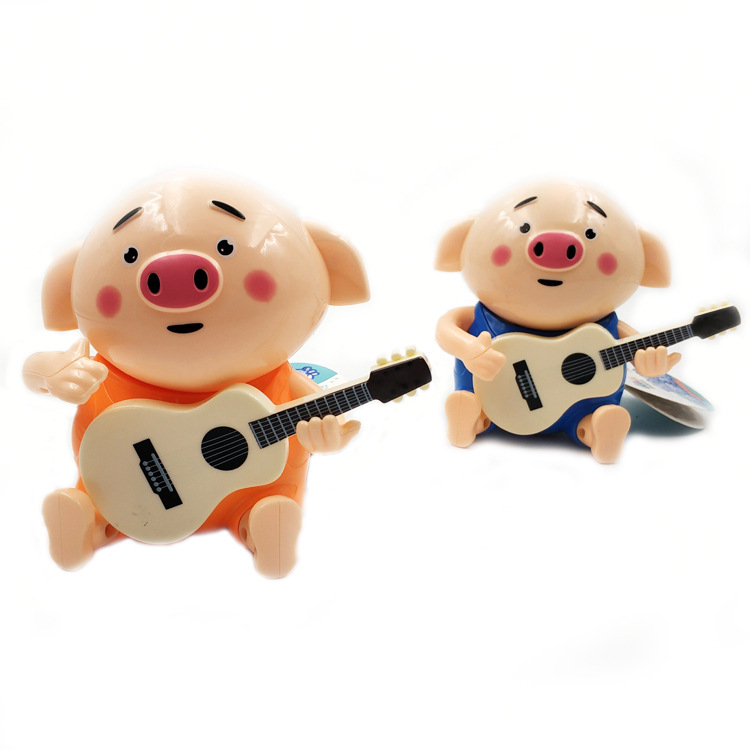 Micro Douyin Guitar Seagrass Pigskin Can Sing Rotating Electric Light And Sound Elastic-Guitar Momo Pig Online Celebrity Toy