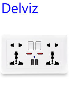 Delviz Power-Socket Switched Outlet Port Dual-Usb-Charger Wall Universal Standard 5-Hole