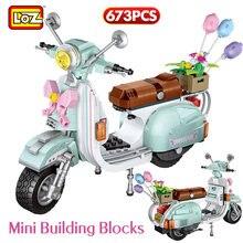 Loz mini modelo de veículo ovelha motocicleta luxo blocos de construção tijolos diy brinquedos educativos para crianças criador meninas presentes