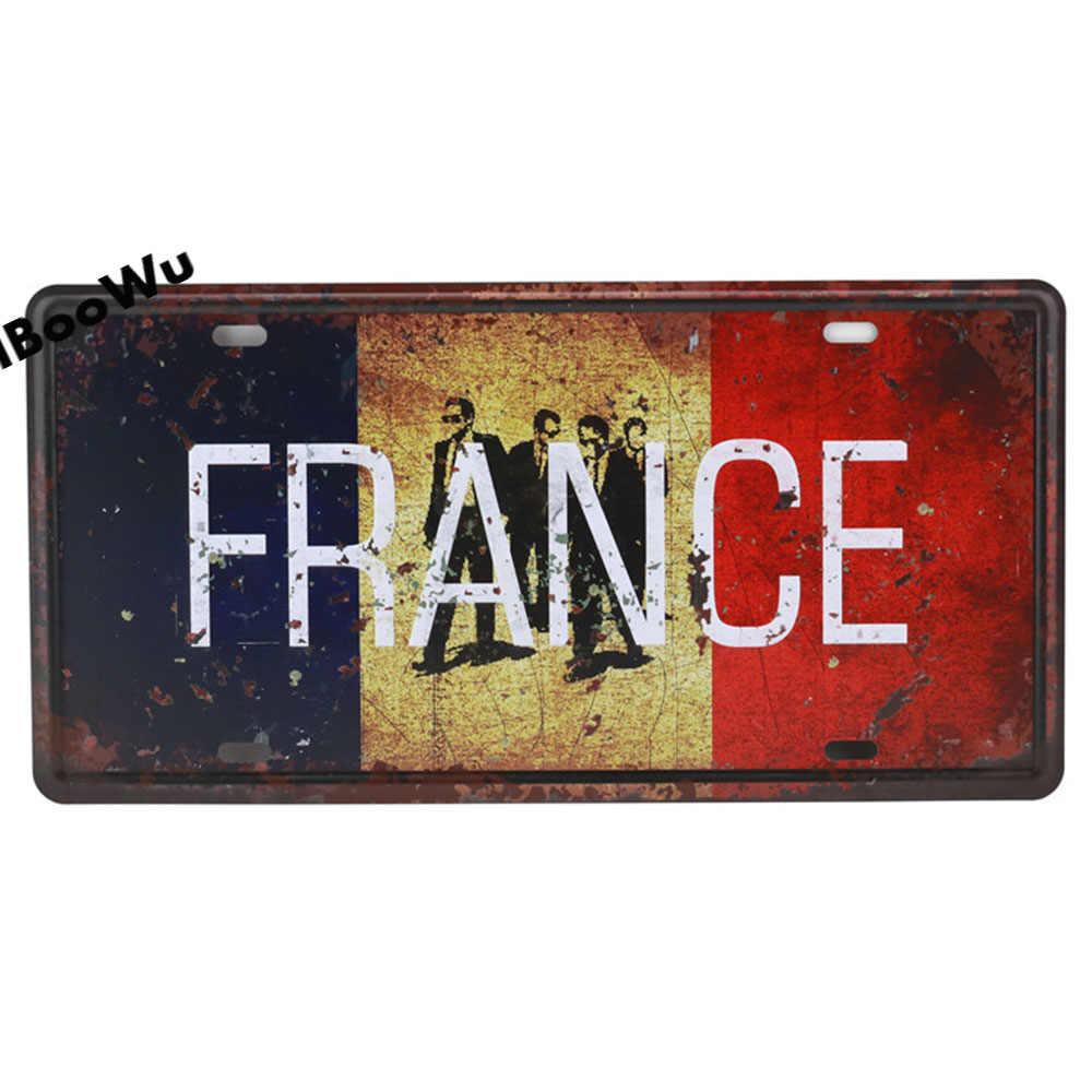 Worldwide شعبية الولايات لوحة ترخيص ملصق Vintage جدار ديكور كندا/فرنسا/المكسيك معدن القصدير تسجيل لويحات المشارك 15x30 سنتيمتر