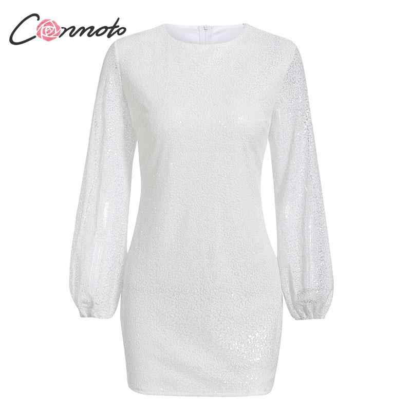 Conmoto mode blanc Sequin femmes robe courte femme 2019 automne hiver lanterne manches Slim moulante robe Chic fête Vestido