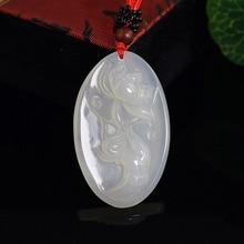 Jade Pendant Jewelry Chalcedony Lotus-Flower Auspicious Lucky-Exorcise Natural Evil Spirit