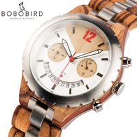 BOBO BIRD Men Watch Luxury Design Multiple Time Zone Clock Wooden Metal Chronograph Watches With Date Display Elegant Timepieces