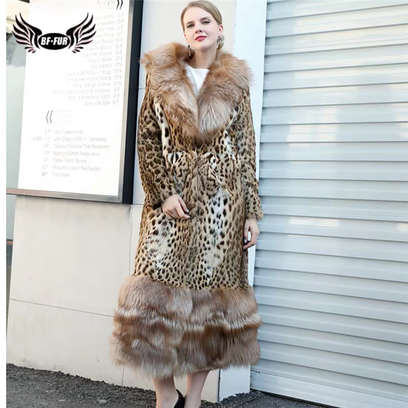 Fashion Luxury Natural Beaver Fur Coat With Big Red Fox Fur Collar And Bottom Women Real Fur Coats Long Fur Jackets Winter 2019