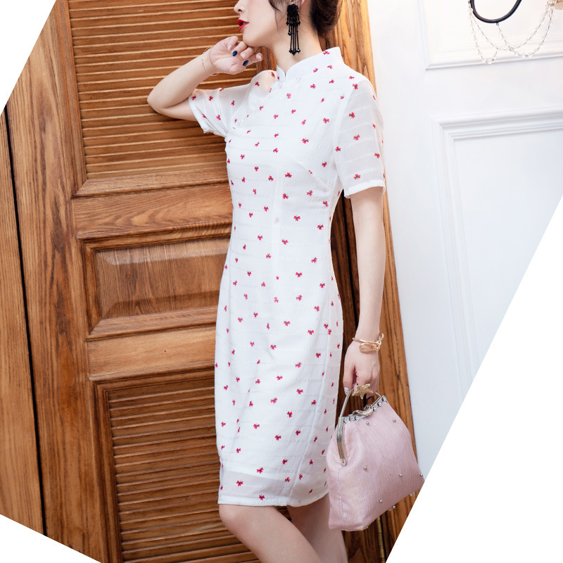 Young Short Cheongsam 2019 Summer New Style Women's Fashion Simple Printed Daily Life Modified Version Of Dress 19239