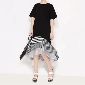 Image 4 - חדש 2020 סתיו ארוך שרוול אישה שחור חצוצרת שמלת טלאים לפרוע אופנתי נמתח גבירותיי חמוד Midi מקרית שמלת חלוק 2048