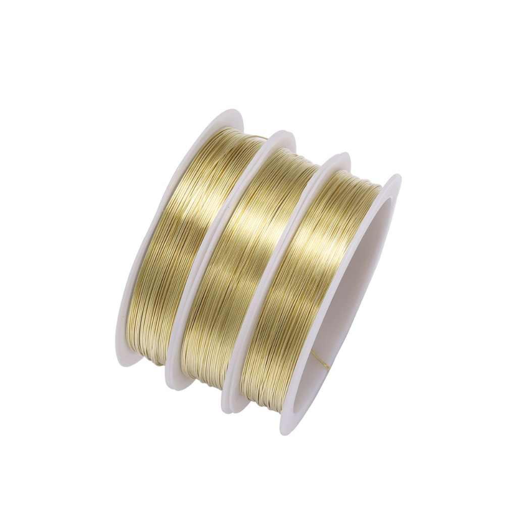 1 rolo resistente diâmetro do fio de cobre da liga do ouro 0.2 0.3 0.4 0.5 0.6 0.7 0.8 1 mm fio da corda do metal da linha para diy grânulos fazer jóias