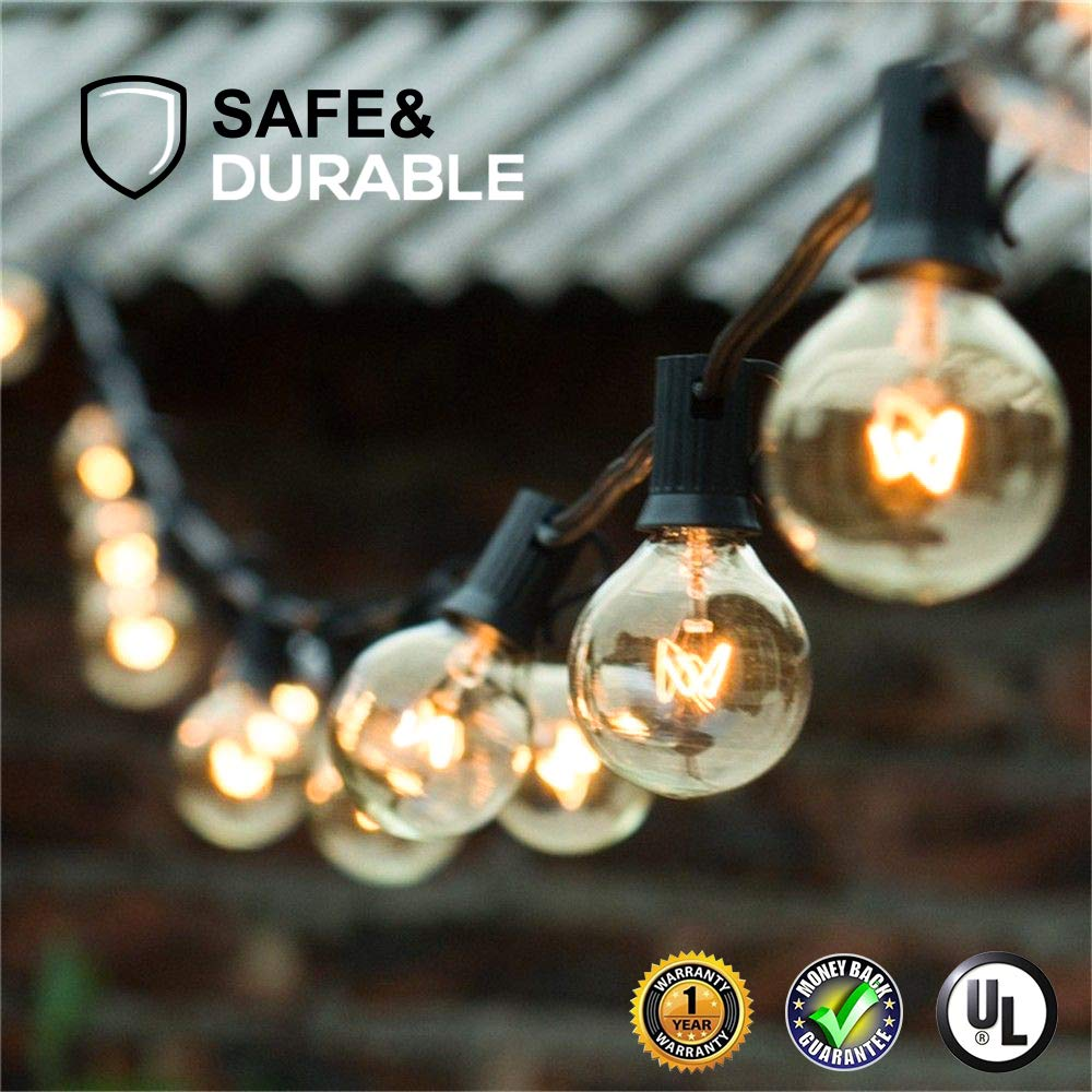 Binval 25/50 Globe Clear Bulbs G40 Lights Outdoor Garden Patio Wedding Garland Holiday Globe String Lights Decoration