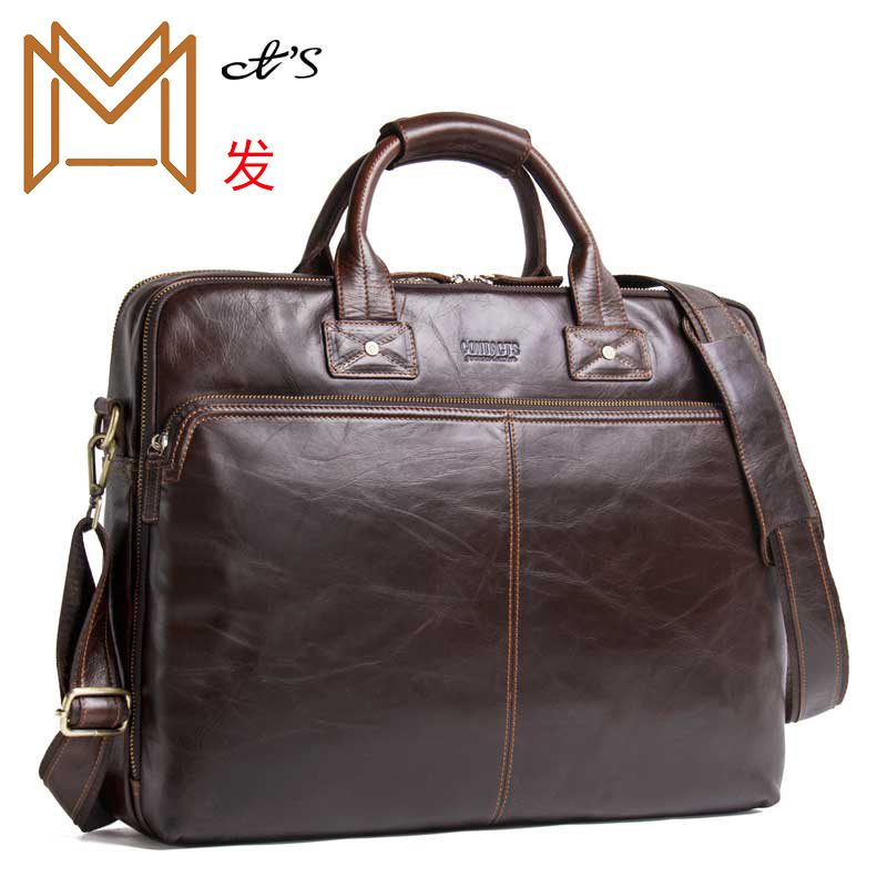 Black Angel Genuine Leather Man Handbag Dress 15.6 Inch Portable Computer Business Affairs Briefcase