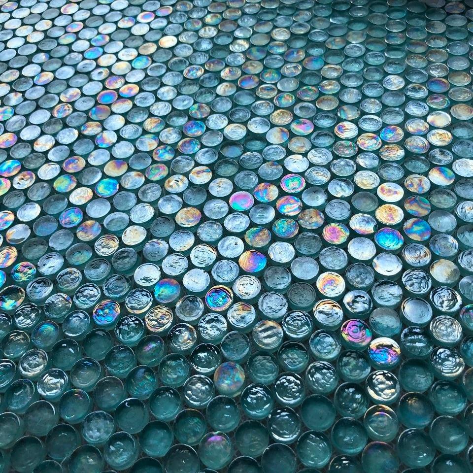 - Iridescent Penny Round Aqua Blue Crytal Glass Mosaic Tiles