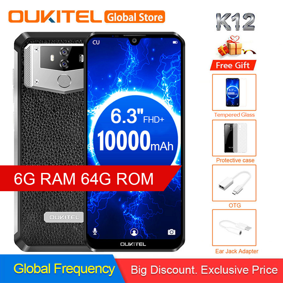 "OUKITEL K12 Waterdrop 6.3"" FHD+ Android 9.0 1080*2340 16MP Smartphone 6GB 64GB Face ID 10000mAh 5V/6A OTG NFC Mobile Phone"