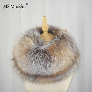 Image 4 - MS.MinShu роскошный шарф из натурального Лисьего меха, шарф из лисьего меха, большой размер, шаль из натурального Лисьего меха, зимний женский палантин, бесплатная доставка