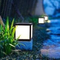 BSOD Solar Chapiter Lamp LED Gate Headlights Pillar Wall Door Post Lighting Lawn Square Decoration Cube IP65 Outdoor Garden LED