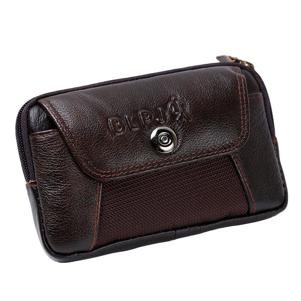 Men's Lock Buckle Mobile Phone Pocket Leather Single Pull Fashion Casual Belt Universal Sports Flip Pocket Outdoor Sport Bag