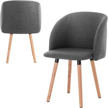 Soft Cushion Dining Chairs, 1 Piece Armchair Kitchen Chair Velvet Seat  Wood legs Reception Chairs with Backrest