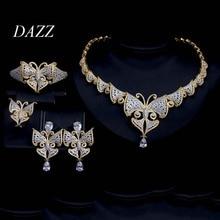 Dazz NEW Luxury Big Butterfly CZ Zircon Wedding Jewelry Set for Party Women India Bride Dubai Necklace Earrings Ring Bangle Sets