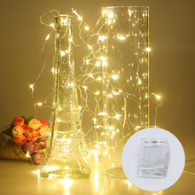 2M 3M 5M 10M Copper Wire LED String Lights Fairy Garland Waterproof Holiday Lighting For Christmas Tree Party Wedding Decoration cheap MeeToo led strings light battery Dry Battery None Beads White Warm White Red Green Blue Purple Pink Yellow RGB 3*AA Battery(Not included)