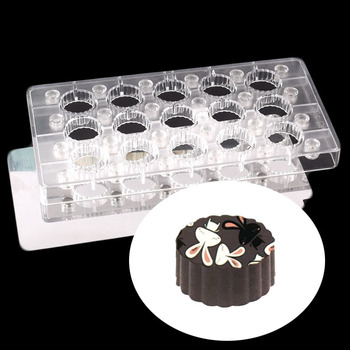 3.2cm Round Lace Transparent Magnetic Polycarbonate PC Chocolate Cake Molds Transfer Magnet Sheets Mould With Mirror Steel Plate