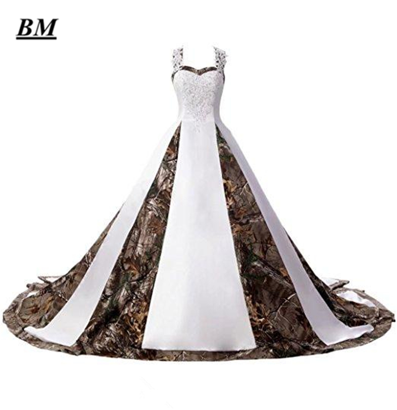 2019 Hot Sale New White Camo Wedding Dresses With Appliques Long Camouflage Wedding Party Dress Bridal Gowns BM116