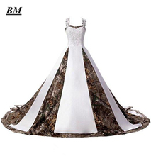 2019 Hot Sale New White Camo Wedding Dresses With Appliques Long Camouflage Party Dress Bridal Gowns BM116