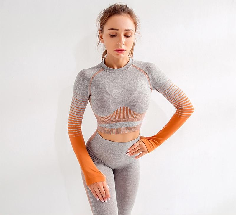 mulheres de manga longa listra esporte camisa