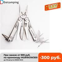 Daicamping-cuchillo plegable multifuncional, conjunto de herramientas de mano multiherramienta, pelacables, 7CR17MOV, para acampada, 18 en 1