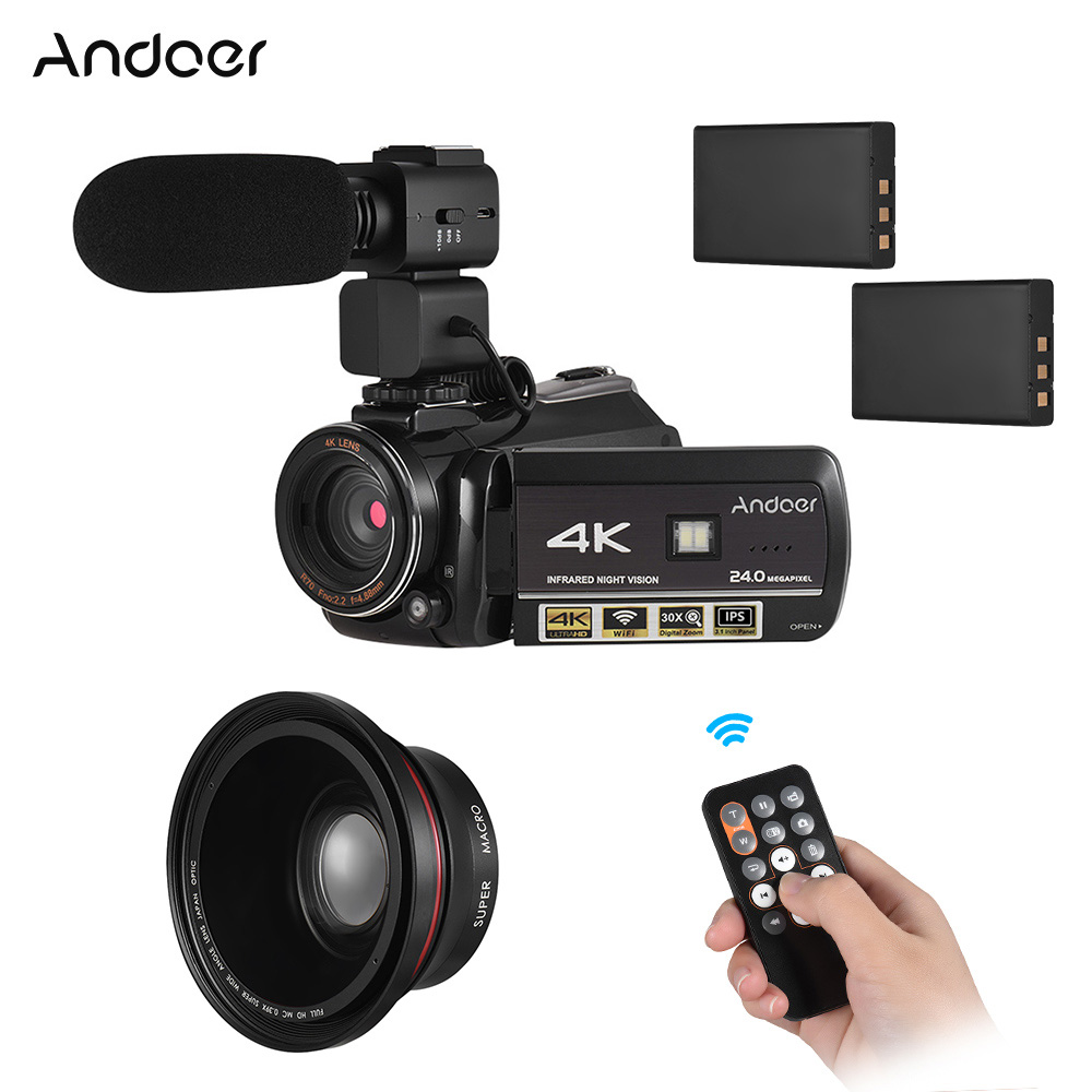 Andoer AC3 4K UHD 24MP Digital Video Camera Camcorder DV Recorder 30X Zoom WiFi Connection IR Night Vision IPS LCD Touchscreen