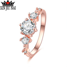 Classic 0.5ct CZ Wedding Finger Austrian Diamond Ring Rose Gold Color Rings With Zircon Crystal 3mm Width Fashion Ring Jewelry new classic luxury fashion ring 4 valve flower gold color crystal adjusted ring women cz diamond finger rings for party wedding