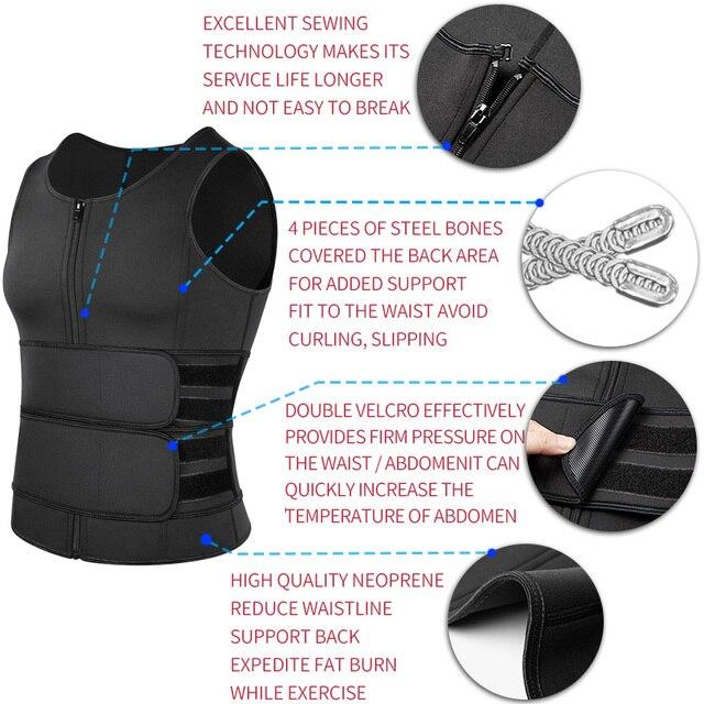 Men Neoprene Sauna Vest With Zipper & Velcro