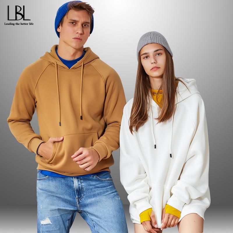 Color Hooides Men Women Winter Autumn Thick Men's Hooded Sweatshirts Hip Hop Streetwear Solid Fleece Hoody Man Outwear USA Size