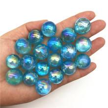 Cristais de quartzo, 1 peça 16-19mm de titânio azul, esfera de cristal de quartzo com galvanoplastia, cura natural