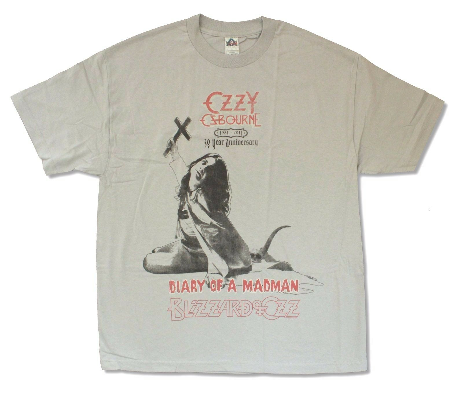 Ozzy Osbourne 30 Year Anniversary Light Grey T Shirt New Official