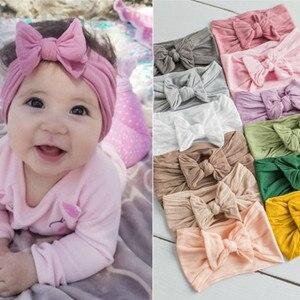 Ins/Детский головной убор для волос с бантом для девочек, повязка на голову с цветочным рисунком, детский цельный тюрбан, милая резинка для во...