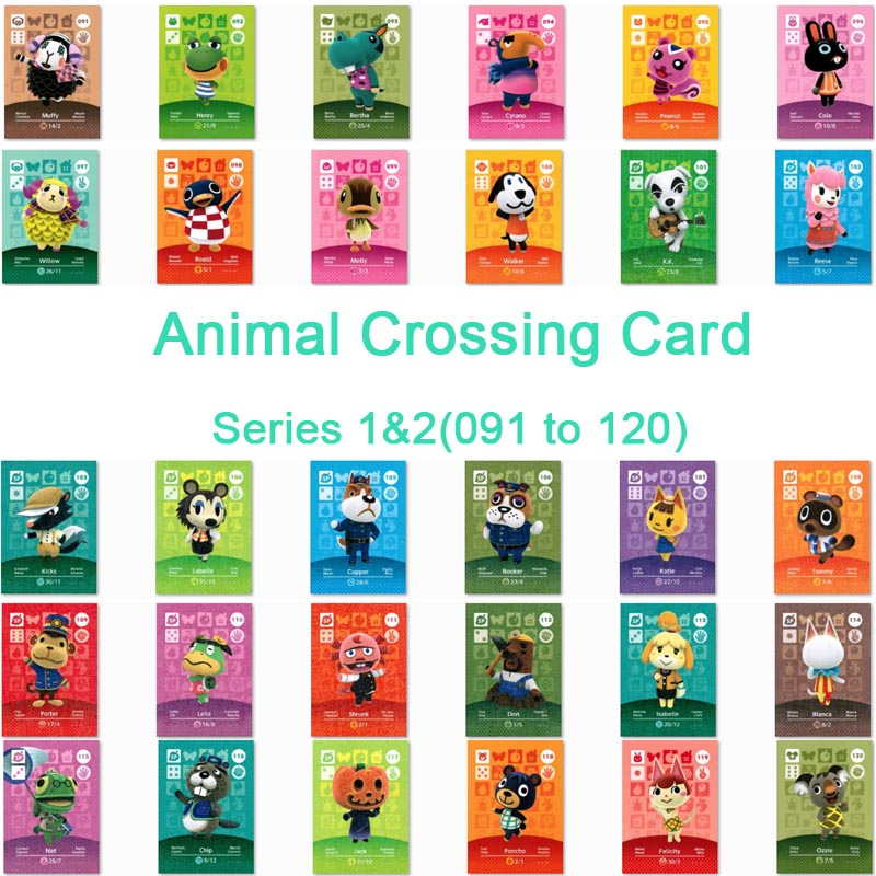 Animal Crossing Card Amiibo Card Work for NS Games Amibo Switch Welcome Stickers  NFC Series 1& Series 2 (091 to 120) 2