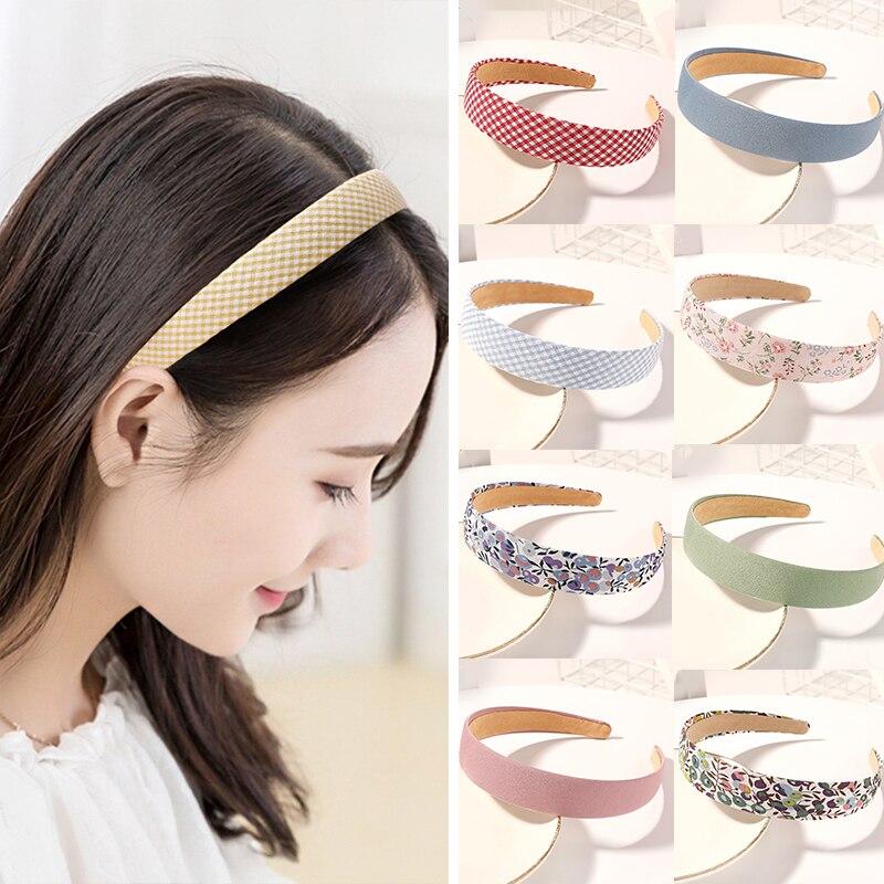 Vintage Floral Breite Stirnbänder Feste Blume Plaids Haarband Kleine Frische Stirnband für Frauen Kopf Wrap Mädchen Tiara Elegante Headwear