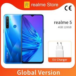 Global Version realme 5 4GB 128GB 6.5'' Moblie Phone Snapdragon 665 Octa Core 12MP Quad Camera  5000mAh 10W EU Charger