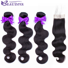 BEAUDIVA Body-Wave Closure Human-Hair-Bundles Lace Brazilian-Hair Remy