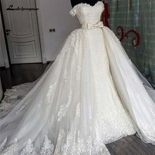 Sexy Sweetheart Lace Mermaid Wedding Dresses Removable Train Applique Lace Bridal Gowns with Detachable Skirt Wedding Gowns vest