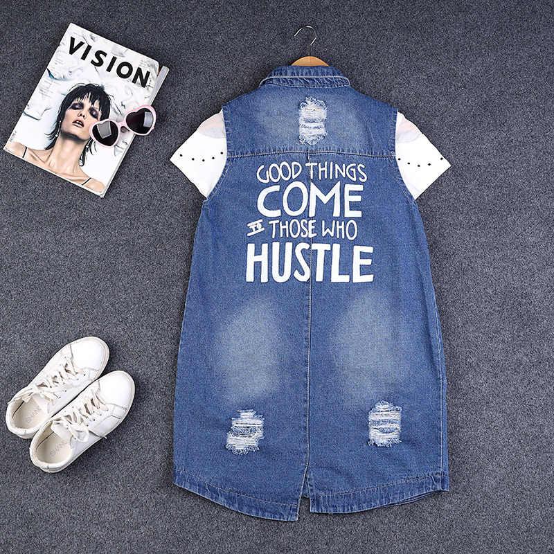 2020 verão nova impressão denim colete feminino moda buraco rasgado sem mangas jaqueta plus size 9xl azul colete feminino streetwear