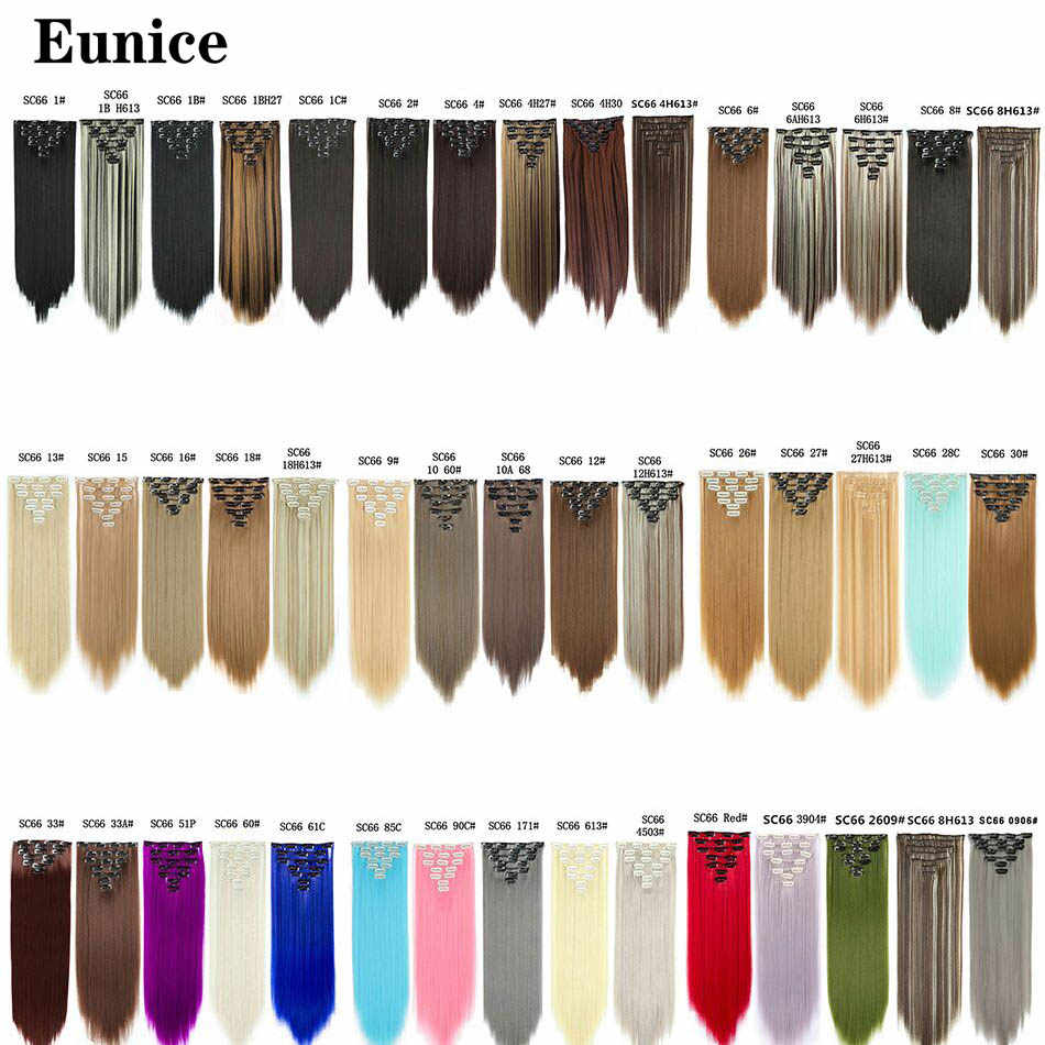 Eunice haar 22inch Lange Rechte Hair Extension 7 stks/set 16 Clips Hoge Tempreture Synthetische Haarstukje Clip in Hair Extensions