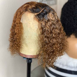Image 2 - Ombre Blonde Curly Bob Lace Front Human Hair Wigs With Baby Hair Pre Plucked With Tpart Lace Wig Remy Brazilian Deep Middle Part