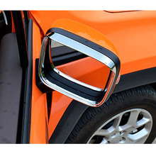 ABS Chrome Car Rearview Mirror Block Rain Eyebrow Panel Cover Trim For Jeep Renegade 2015 2016 2017  Accessories Styling abs chrome car front light headlamps eyebrow trim cover for jeep renegade 2015 2016 2017 accessories car styling