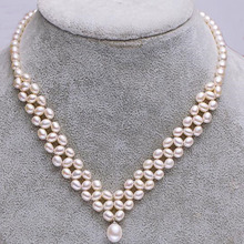 S925 Silver Multi-layer Freshwater Pearl Necklace Bride Dress Necklace Rice Pearl Fashion Fine Jewelry недорого